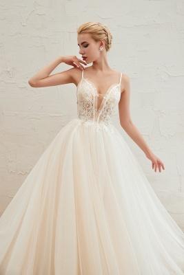 Sexy Spaghetti Straps V-Neck Ivory Wedding Dress Romantic Sleeveless  Bridal Gowns Online_14