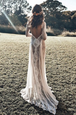 Chic Jewel White Mermaid Wedding Dresses Long Sleeveless Lace Bridal Gowns On Sale_5