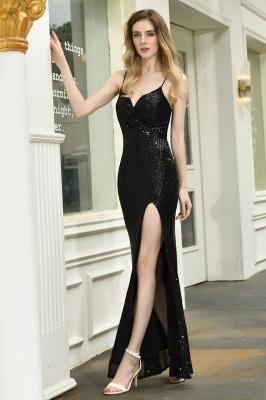 Elegant Black Spaghetti Strap V-Neck Sequined Front Slit Prom Dresses Long Sheath Backless Evening Dresses_6