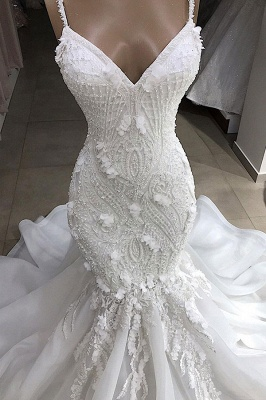 Glamorous Spaghetti Straps Lace Mermaid Wedding Dresses V-Neck White Appliques Bridal Gowns On Sale_4