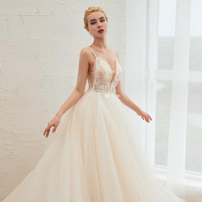 Sexy Spaghetti Straps V-Neck Ivory Wedding Dress Romantic Sleeveless  Bridal Gowns Online_19