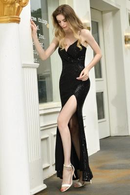 Elegant Black Spaghetti Strap V-Neck Sequined Front Slit Prom Dresses Long Sheath Backless Evening Dresses_8
