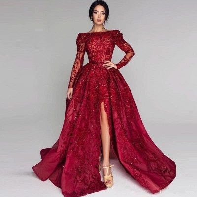 Sexy Off-the-Shoulder A-Line Prom Dresses Burgundy Open Back Long Sleeves Evening Gowns With Lace Appliques_4