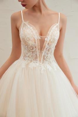 Sexy Spaghetti Straps V-Neck Ivory Wedding Dress Romantic Sleeveless  Bridal Gowns Online_18