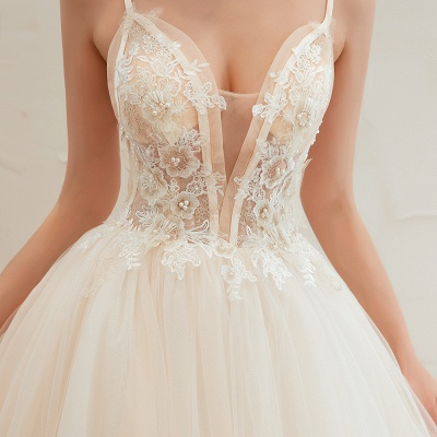 Sexy Spaghetti Straps V-Neck Ivory Wedding Dress Romantic Sleeveless  Bridal Gowns Online_20