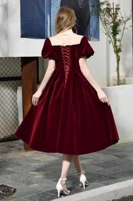 Sexy Flare Sleeve Deep V-Neck Burgundy Prom Dresses A-Line Tea Length Ruffles Evening Dresses_12