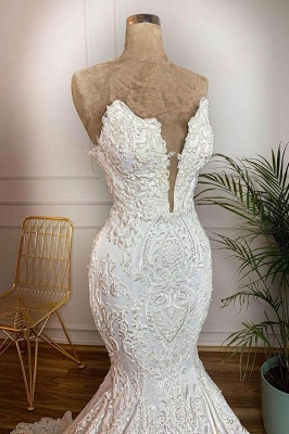Sexy V-Neck Mermaid Wedding Dresses Sleeveless White Bridal Gowns with Lace Train Online_3