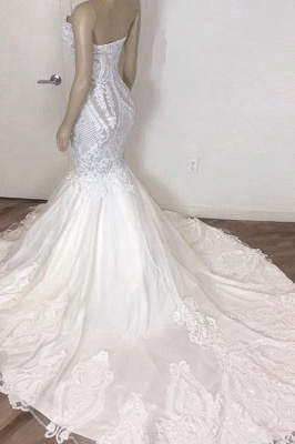 Gorgeous Strapless Mermaid Beach Wedding Dress Sexy White Low Back Bridal Gowns Online_3