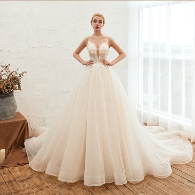 Sexy Spaghetti Straps V-Neck Ivory Wedding Dress Romantic Sleeveless  Bridal Gowns Online_5
