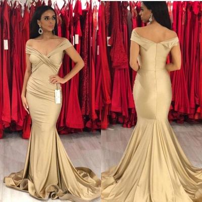 Modest Off-the-Shoulder Stretch Satin V-Neck Prom Dresses Mermaid Sleeveless Champagne Evening Dresses_3
