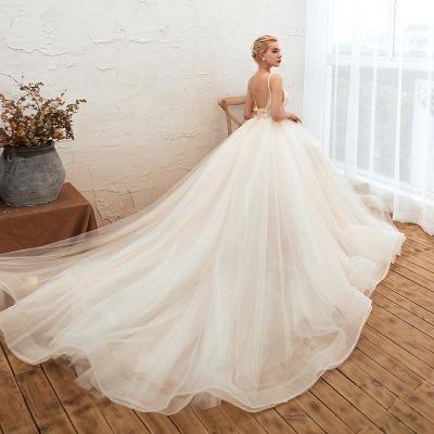 Sexy Spaghetti Straps V-Neck Ivory Wedding Dress Romantic Sleeveless  Bridal Gowns Online_9