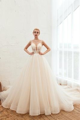 Sexy Spaghetti Straps V-Neck Ivory Wedding Dress Romantic Sleeveless  Bridal Gowns Online_1