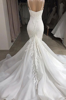Glamorous Spaghetti Straps Lace Mermaid Wedding Dresses V-Neck White Appliques Bridal Gowns On Sale_3