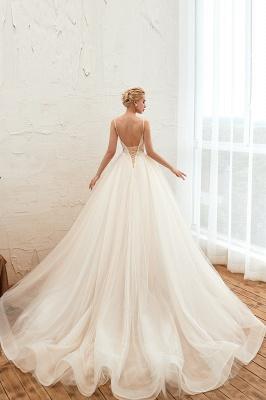 Sexy Spaghetti Straps V-Neck Ivory Wedding Dress Romantic Sleeveless  Bridal Gowns Online_16