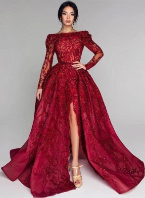 Sexy Off-the-Shoulder A-Line Prom Dresses Burgundy Open Back Long Sleeves Evening Gowns With Lace Appliques_3