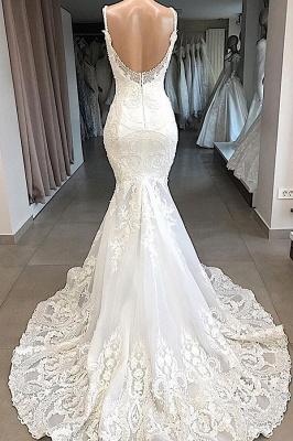 Gorgeous Spaghetti Strap V-Neck Mermaid Wedding Dress Sleeveless White Open Back Wedding Dress with Chapel Train_3