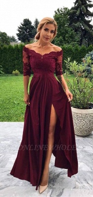 Exquisite Off-the-Shoulder Lace Burgundy Prom Dress Chiffon Half Sleeves Evening Dresses with Slit_2