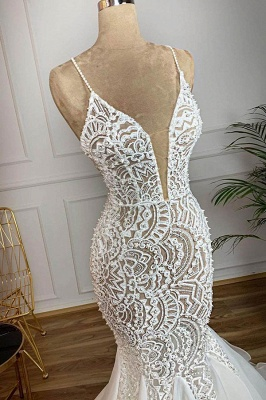 Luxury Spaghetti Straps V-Neck White Wedding Dresses Sleeveless Mermaid Hollow Bridal Gowns Online_3