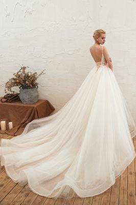 Sexy Spaghetti Straps V-Neck Ivory Wedding Dress Romantic Sleeveless  Bridal Gowns Online_4