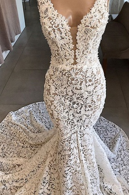 Luxury V-Neck Mermaid Lace Wedding Dresses Romantic Sleeveless Bridal Gowns On Sale_4