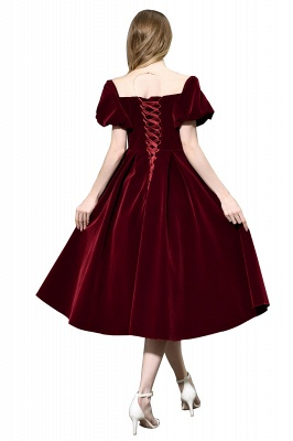 Sexy Flare Sleeve Deep V-Neck Burgundy Prom Dresses A-Line Tea Length Ruffles Evening Dresses_10