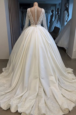 Luxury V-Neck Ball Gown Wedding Dress Long Sleeves Bridal Gowns with Pearl On Sale_3
