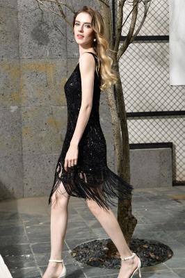 Gorgeous Black Straps V-Neck Applique Lace Sequined Prom Dresses Sheath Appliques Short Formal Dresses_4