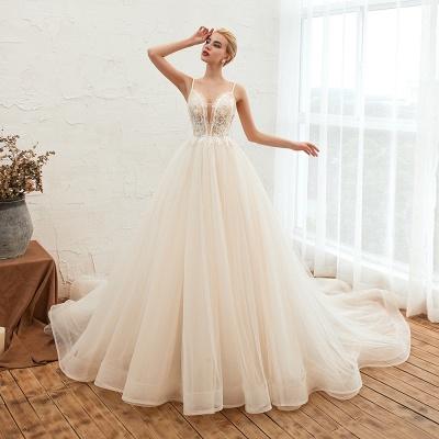 Sexy Spaghetti Straps V-Neck Ivory Wedding Dress Romantic Sleeveless  Bridal Gowns Online_15