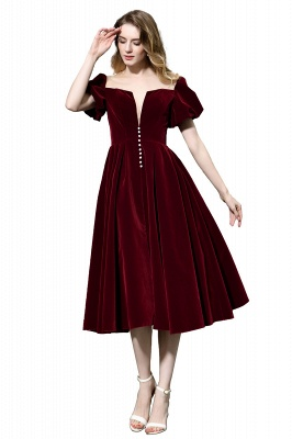 Sexy Flare Sleeve Deep V-Neck Burgundy Prom Dresses A-Line Tea Length Ruffles Evening Dresses_8