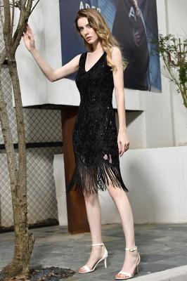 Gorgeous Black Straps V-Neck Applique Lace Sequined Prom Dresses Sheath Appliques Short Formal Dresses_5