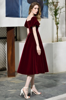 Sexy Flare Sleeve Deep V-Neck Burgundy Prom Dresses A-Line Tea Length Ruffles Evening Dresses_7