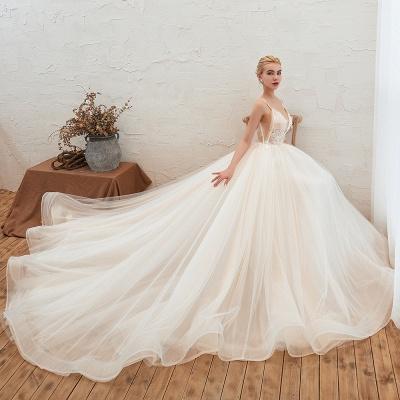 Sexy Spaghetti Straps V-Neck Ivory Wedding Dress Romantic Sleeveless  Bridal Gowns Online_6