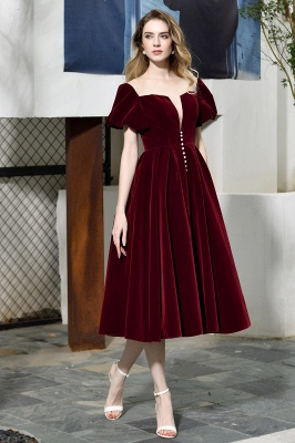 Sexy Flare Sleeve Deep V-Neck Burgundy Prom Dresses A-Line Tea Length Ruffles Evening Dresses_4