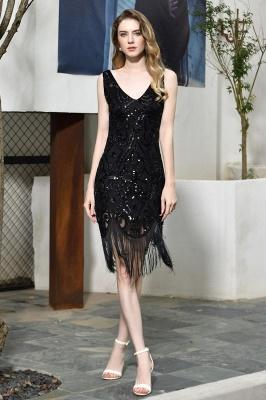 Gorgeous Black Straps V-Neck Applique Lace Sequined Prom Dresses Sheath Appliques Short Formal Dresses_2