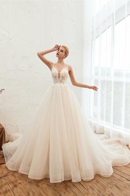 Sexy Spaghetti Straps V-Neck Ivory Wedding Dress Romantic Sleeveless  Bridal Gowns Online_8