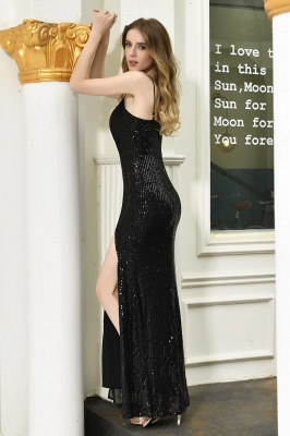 Elegant Black Spaghetti Strap V-Neck Sequined Front Slit Prom Dresses Long Sheath Backless Evening Dresses_11