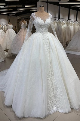 Elegant Illusion Ball Gown White Wedding Dress Long Sleeves Lace Appliques Bridal Gowns with Cathedral Train_1