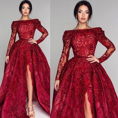 Sexy Off-the-Shoulder A-Line Prom Dresses Burgundy Open Back Long Sleeves Evening Gowns With Lace Appliques_2