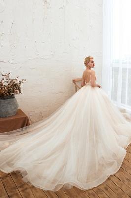 Sexy Spaghetti Straps V-Neck Ivory Wedding Dress Romantic Sleeveless  Bridal Gowns Online_10
