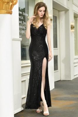 Elegant Black Spaghetti Strap V-Neck Sequined Front Slit Prom Dresses Long Sheath Backless Evening Dresses_5