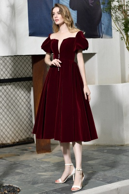 Sexy Flare Sleeve Deep V-Neck Burgundy Prom Dresses A-Line Tea Length Ruffles Evening Dresses_11