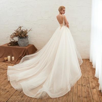 Sexy Spaghetti Straps V-Neck Ivory Wedding Dress Romantic Sleeveless  Bridal Gowns Online_12