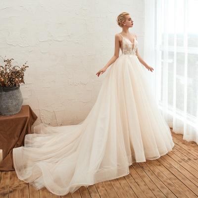 Sexy Spaghetti Straps V-Neck Ivory Wedding Dress Romantic Sleeveless  Bridal Gowns Online_11