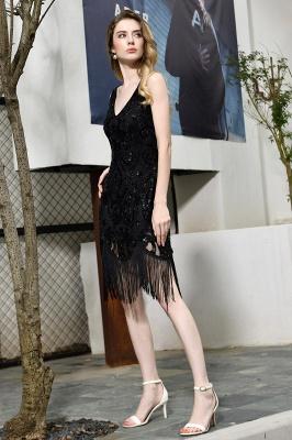 Gorgeous Black Straps V-Neck Applique Lace Sequined Prom Dresses Sheath Appliques Short Formal Dresses_6
