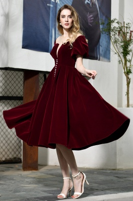 Sexy Flare Sleeve Deep V-Neck Burgundy Prom Dresses A-Line Tea Length Ruffles Evening Dresses_6