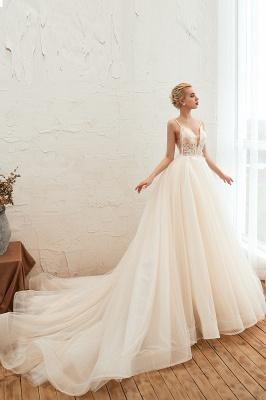Sexy Spaghetti Straps V-Neck Ivory Wedding Dress Romantic Sleeveless  Bridal Gowns Online_13