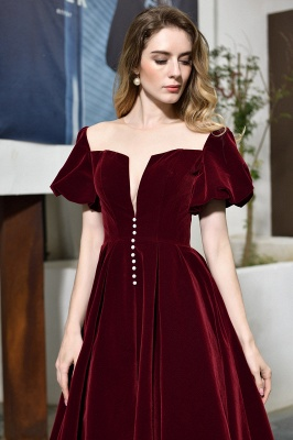 Sexy Flare Sleeve Deep V-Neck Burgundy Prom Dresses A-Line Tea Length Ruffles Evening Dresses_9