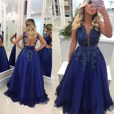 Glamorous V Neck Lace Appliqued Sleeveless Prom Dresses Royal Blue Beading Evening Gowns with Bowknot Waistband_2