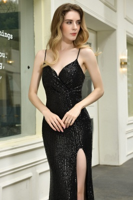 Elegant Black Spaghetti Strap V-Neck Sequined Front Slit Prom Dresses Long Sheath Backless Evening Dresses_12