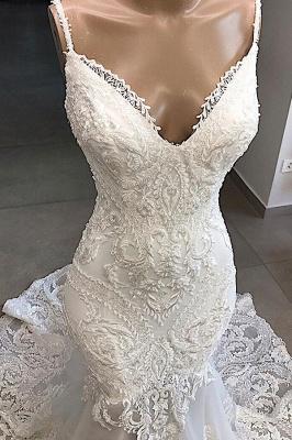 Gorgeous Spaghetti Strap V-Neck Mermaid Wedding Dress Sleeveless White Open Back Wedding Dress with Chapel Train_4